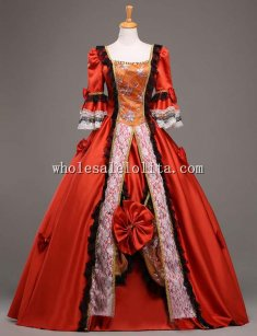 18th Century Marie Antoinette Ball Gown Vintage Red Wedding Dress Theatre Clothing