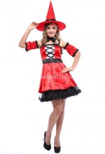 Passionate Red Adult Witch Halloween Costume Masquerade Party Dress