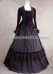 19th Century Purple Velvet Jacket Victorian Period Dress Gown Reenactment Theatre Costume