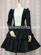 Black and White Cotton Classic Lolita Dress New Style