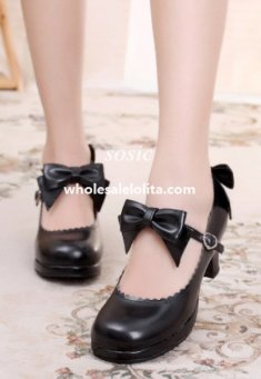 Sweet Bow Angkle Strap 6cm High Heel Princess Lolita Shoes