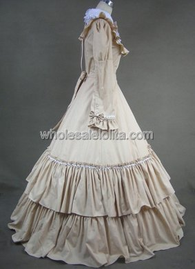 Classic Victorian Maid Beige Lolita Dress Gown Reenactment Theatre Clothing
