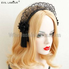 Christmas Gothic Black Lace Cosplay Headband Masquerade Accessories