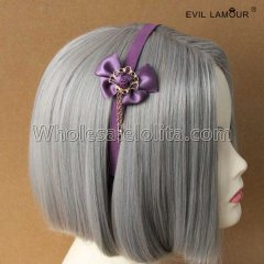 Purple Rose Bow Headband Masquerade Accessories