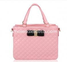 Sweet Pink Diamond Check Bow Lolita Bag Girls Totes Bag