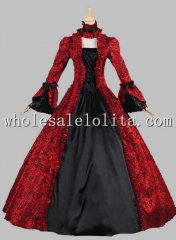 Georgian Victorian Gothic Period Dress Masquerade Ball Gown Reenactment Theatre Costume Red & Black