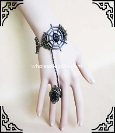 Retro Black Spider Net Halloween Accessory Gothic Bracelet