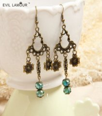 Gothic Green Crystal Earrings EH-22