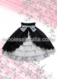 Black And White Multi layer Cotton Lolita Skirt
