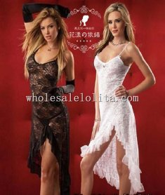 Night Angel Sexy Chemise Flora Lace Split Long Dress