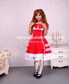 Cotton Red Short Sleeves Bow Lace Cotton Sweet Lolita Dress