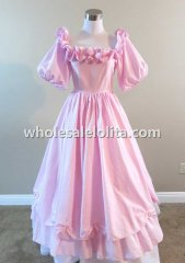 Victorian Pink Satin Civil War Ball Gown Teen Reenactment Dress