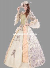 Historical Royal Court Floral Marie Antoinette Period Dress Theatre Clothing N3
