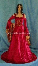 Red/White Renaissance Medieval Handfasting Wedding Dress Custom Made
