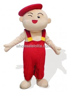 Red Hat Boy Plush Adult Mascot Costume