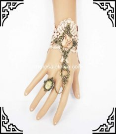 Gothic Retro Court Coffee Lace Rose Bronze Bracelet & Ring
