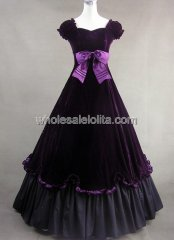 Purple Velvet and Cotton Civil War Southern Belle Prom Gown Party Dress