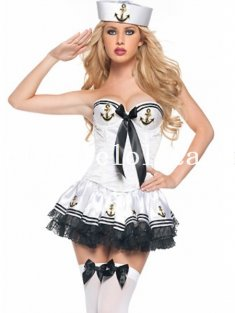 Halloween White/Blue Sexy Strapless Sailor Costume for Women 2 Colors