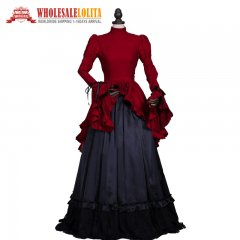 Victorian Edwardian Downton Abbey Vampire Dress Steampunk Theatrical Women Halloween Costume