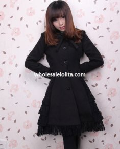 Autumn/Winter Wool Lace Trim Slim Look Black Lolita Coat