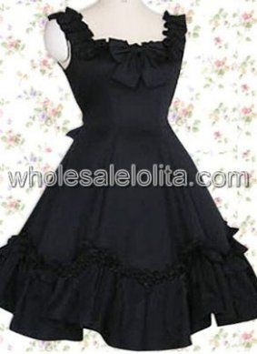 Top Seller Lovely Black Cotton Classic Lolita Dress