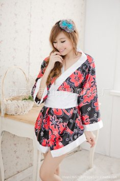 Black and Red Printing Sexy Kimono