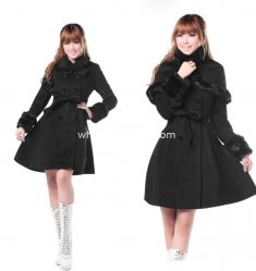 Cheap Cute Black Wool Sweet Winter Coat