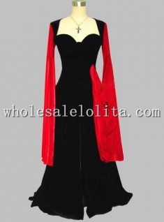 Gothic Black and Red Pleuche Kimono Sleeve Victorian Era Dress