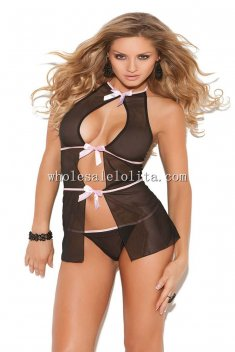 Bow String Cut Out Halter Nightwear Teddy