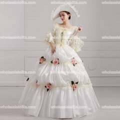 18th Century Rococo Style Marie Antoinette Inspired Prom Dress Wedding Ball Gown White