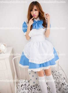 Cute Sky Blue Big BOW-TIE Maid Cosplay Costume