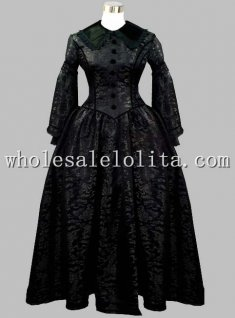 Gothic Black Brocade Victorian Era Period Dress Reproduction Halloween Themed Costume