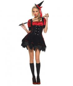 Adult Black and Red Witch Halloween Costume