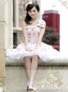 Sweet Pink Cinderella Series One Shoulder Printing Chiffon Lolita Dress