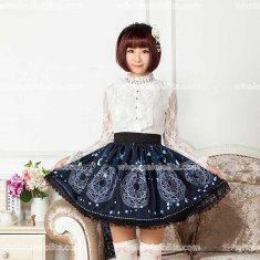 Beautiful Lolita Skirts Pleated Dark Blue SK