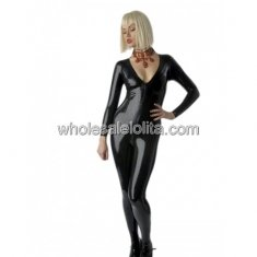 Front Zipper Black V neck Latex Catsuit