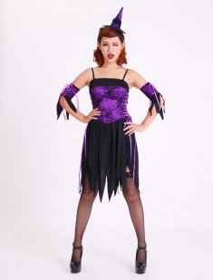 Naughty Purple Witch Party Dress with Spaghetti Straps