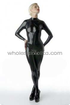 Black Corset Latex Catsuit for Women Back Zipper