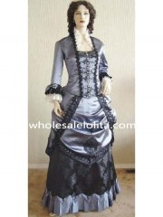 19th Century Vintage Victorian BustleSilver Wedding Satin Black Lace Period Dress