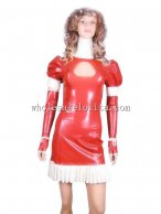 Sexy Hollow Out Bust Red Latex Dress with Ruffled Hem