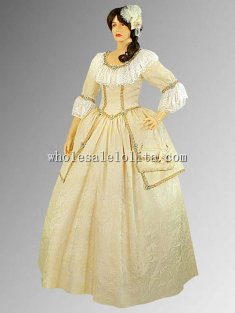 Handmade Ivory Gold Baroque Renaissance Dress Italian Renaissance Dress Antoinetta Costume
