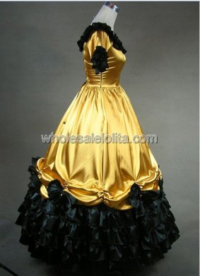 Women Gold and Black Civil War Period Southern Belle Wedding Ball Gown Prom Dress
