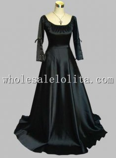 Gothic Black Thick Silk-like Medieval Dress Gown Theatre Costume