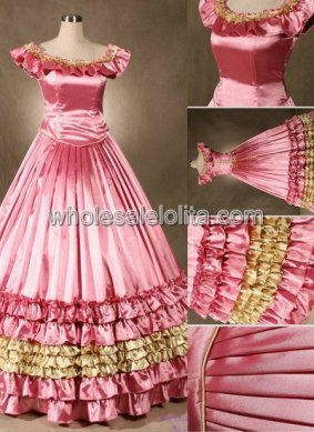 Victorian Pink Civil War Southern Belle Wedding Ball Gown Prom Dress Stage Wear