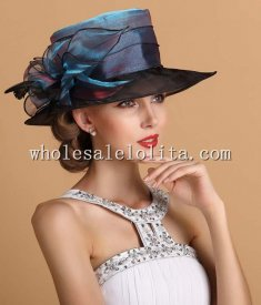 New British Two Tones Crystal Organza Big Brim Kentucky Derby Hat
