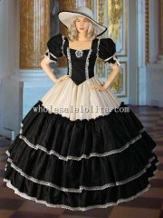 Black and Cream Civil War Era Ball Gown with Wide Skirt Handmade from Taffeta Multiple Colors Available