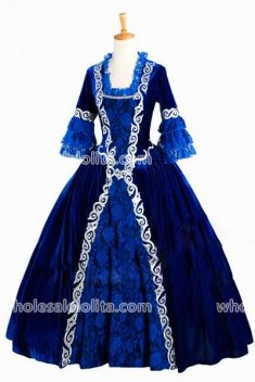 Georgian Blue Velvet Victorian Gothic Period Dress Masquerade Ball Gown Reenactment Theatre Costume