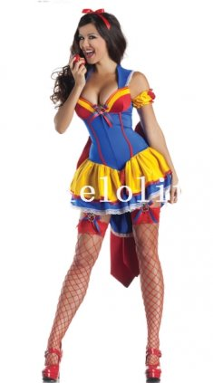 Halloween Sexy Adult Princess Snow White Cosplay Costume Big Bow