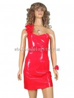 Ladies One Shoulder Red Thigh Length Latex Dress
