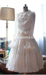 Pure White Slim Pull Sleeves Long Shiro Lolita Dress